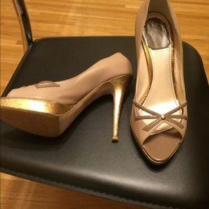Christian Dior Lolita Peep Toe-Nude/Gold